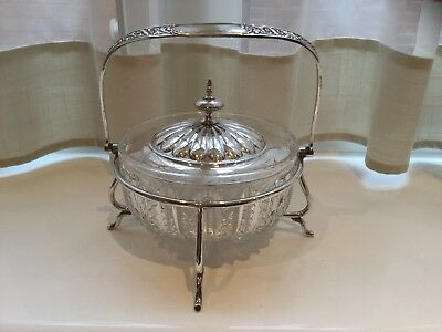 Superb Antique Victorian Silver Plated And Glass Butter Dish