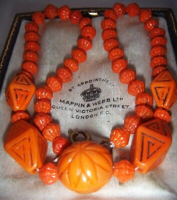 Neiger Art Deco Egyptian Revival Czech Moulded Beads Necklace Vintage Jewellery
