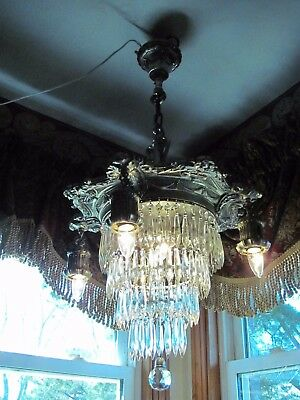 Vintage Wedding Cake Tiered Crystal Chandelier O.w. Mfg Co 6 Light Early 1900S