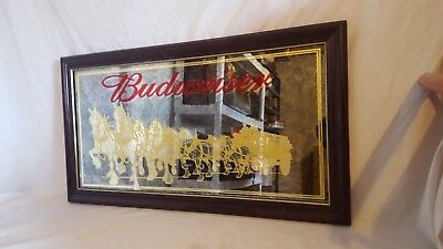 """Budweiser Beer Golden Clydesdales Bar Mirror-Smoked Glass-26""""× 14""""-Nice!"""