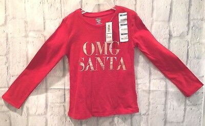 """Old Navy Long Sleeve Red Tee Size 3T """"OMG SANTA """" in Silver Metallic Letters NWT"""