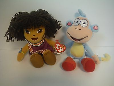 Ty Beanie Babies~Dora The Explorer Tanzania & Boots (No Heart Tag)~Plush Set~New
