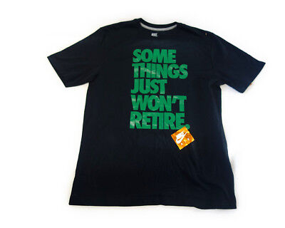 """Nike """"some Things Just Wont Retire"""" Black Green Mens T-Shirt Size M"""