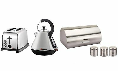 6PC Set of Electric Kettle, Toaster, Bread bin & 3 Canisters - Silver