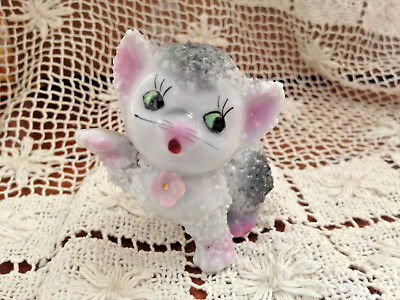 """Vintage Gray & White Kitten Cat With Flowers Sugar Texture Marked Japan 2.5"""""""