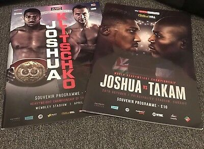 Anthony Joshua Souvenir Boxing Programmes for both Klitschko and Takam fights