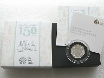 2016 Beatrix Potter Piedfort 50p Fifty Pence Silver Proof Coin Box Coa