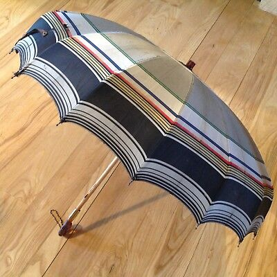 Vintage Polan Katz Umbrella Amber Color Handle Stripe PK Parasol