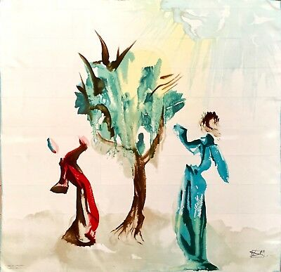 "Salvador Dali ""Tree of Penitence"" Print Silk Crepe 34"" x 34"" Large Square Scarf"