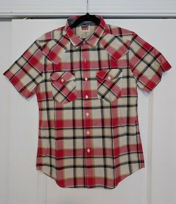 Levis Mens Button Down Short Sleeve Shirt Lot Red And Blue Plaid 35 Shirts Total