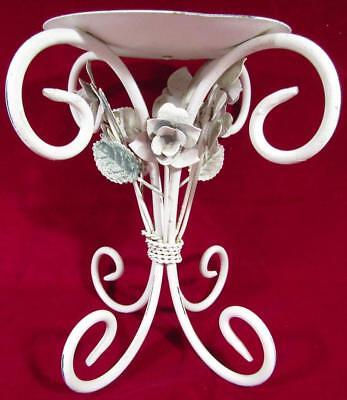 Candlestick Pillar Candle Shabby Chic Applied Flowers White Wrought Iron 22.5cm