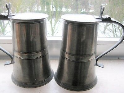 Fine matched pair of antique pewter flagons by William Hunter of Edinburgh, 1773