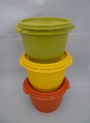 3 Vintage 70's Tupperware Harvest Storage Containers Fan Lid Orange Yellow Green
