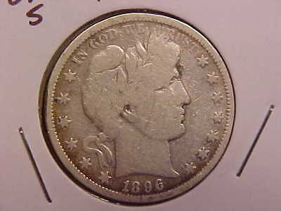 1896 S Barber Half Dollar - Cleaned - Vg - See Pics! - (X937)