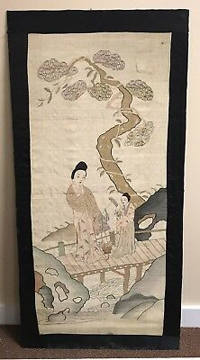 Large Antique Chinese Silk Kesi Panel With Scene Of Figures On A Bridge