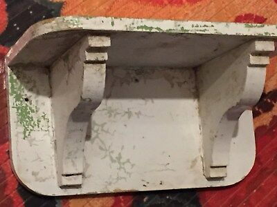 Antique Vintage Shabby Primitive White Painted Wall Shelf