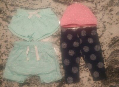 Lot of 4: NWOT Baby Girls Clothes CAT & JACK NB Bottoms Pants,Shorts & Pink Hat