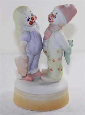 Flambro 2 Child Clowns Girl & Boy Musical Porcelain Figurine w/ On Off Switch