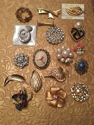 Vintage Brooch Lot Some Signed Assorted Beautiful Jewelry Lot Antique 18 Pieces