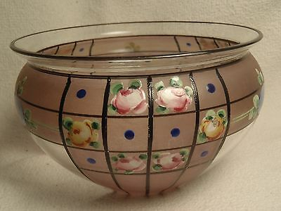 """Antique Vintage Hand Painted Bowl Clear & Frosted Glass Floral Art Deco Small 4"""""""