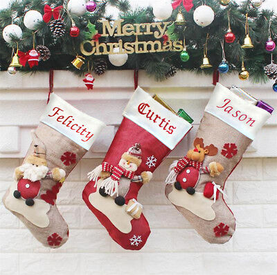 Embroidered Personalised Santa Reindeer Snow Man Stocking Sack Christmas