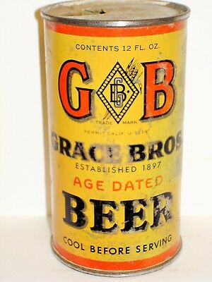 "GB 'GRACE BROS"" BEER ""OI/IRTP"" Flat Top Beer Can M942"