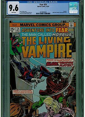 Fear #24 Cgc 9.6 Morbius Vampire Early Blade Vampire Appearance 1974 White Pages