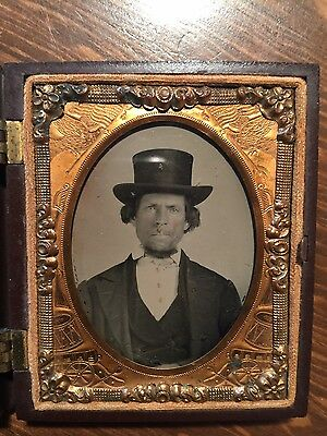 RARE MELUNGEON MAN w TOP HAT ~ c.1870 AMBROTYPE ~ APPALACHIAN MIXED TRI-RACE MAN
