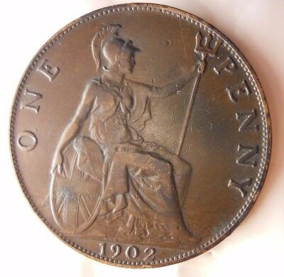 1902 GREAT BRITAIN PENNY - HIGH GRADE  - Strong Value - Great Coin - Lot #N16