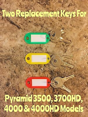 Two Replacement Keys For Pyramid 3500, 3700, 4000 & 4000HD Time Clock Models