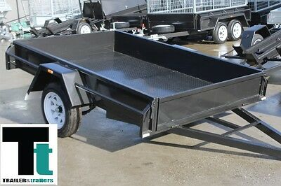 8x5 SINGLE AXLE COMMERCIAL HEAVY DUTY BOX TRAILER 750 Kg GVM + NEW WHEELS