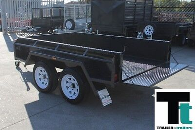 "8x5 TANDEM AXLE BOX TRAILER | FULL CHECKERPLATE | 15"" HIGH SIDES + NEW WHEELS"