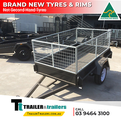 7x4 CAGE TRAILER - 2FT CAGE - 750 KG GVM - CHECKER PLATE FLOOR - NEW WHEEL
