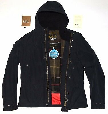 "Auth Men's Barbour Stern Hooded Jacket Waterproof Size L P2P 22.5"" Nwot Rrp $299"