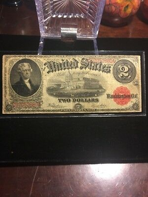 1917 $2 Two Dollar Bill Red Seal United States Legal Tender Large Note No Res