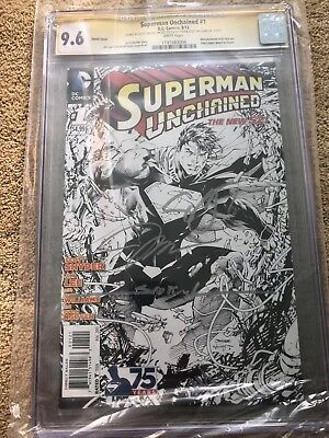 Superman Unchained #1 1:300 Cgc Ss 9.6 Signed X4 Jim Lee Snyder Nguyen Williams