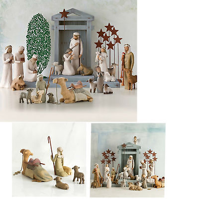 Xmas Willow tree Shepherd and Stable Animals Sheep Camel Calf Nativity Set