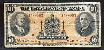 Royal bank of Canada 10 dollars 1935 Grade-(VF)