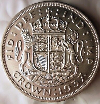 1937 GREAT BRITAIN CROWN - AU/UNC - Massive Value Rare Silver Coin - Lot #N16