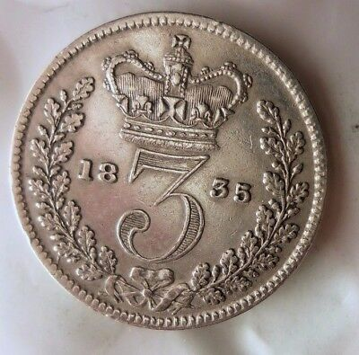 1835 GREAT BRITAIN 3 PENCE - AU - Massive Value Rare Silver Coin - Lot #N16