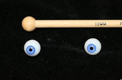 Antique Glass Eyes for German Bisque Head Dolls-12mm Wedgwood Blue-Hand Blown