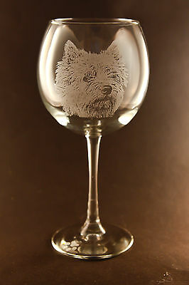 New! Etched Norwich Terrier on Large Elegant Wine Glasses