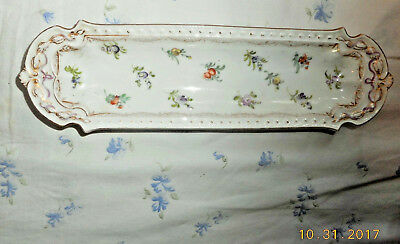 Antique P. Donath Dresden Hand Painted Porcelain Tray Blue Crown S Mark