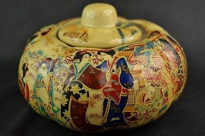 Rare Old Handwork Jingdezhen Porcelain Painting Dowager Pumpkin Storage Pot