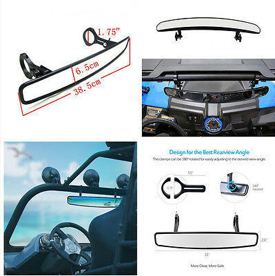 "15"" Wide Rear View UTV Mirror with 1.75"" Clamp for ROUND ROLL BAR Units"