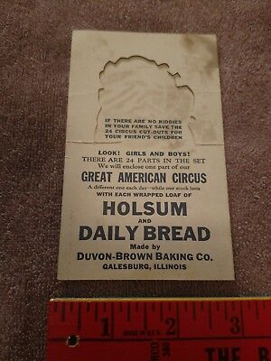 Advertising card Holsum Bread great American circus daily Galesburg Illinois