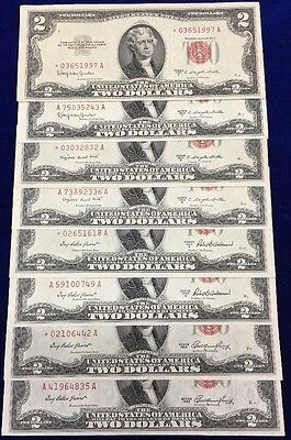 Complete Set 1953 Red Seal $2 Notes Regular & Star Issues AU/UNC