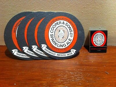 COOPERS Sparkling Ale- 4 x drink coasters & a matchbook Upper Kensington Brewery