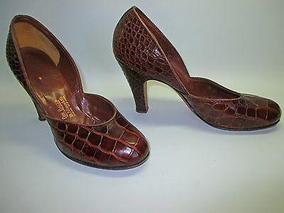 VINTAGE 1930's ART DECO CROCODILE PUMPS 7.5 A ALTMAN