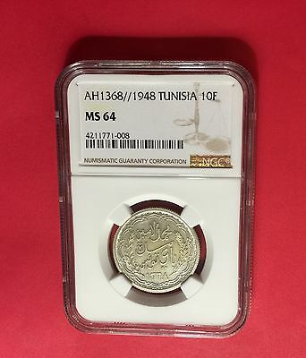 Tunisia -Ah1368//1948 Silver ,10 Francs  Ngc Ms64  Extra Rare ..low Mintage .